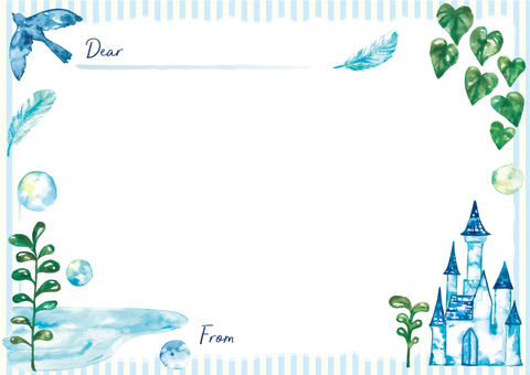Castle and blue bird message card