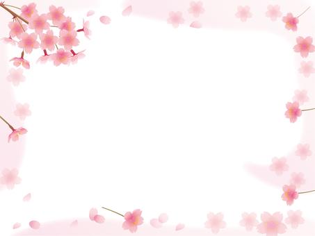 벚꽃 프레임 벚꽃 흩 날리는