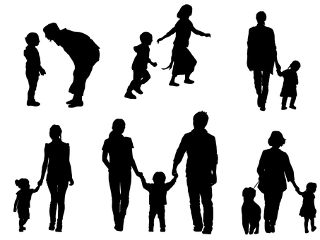 Parent and child silhouette