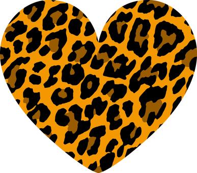 Heart _ leopard handle _ large _ orange