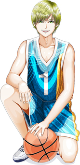 A boy in a basketball uniform Body whole body