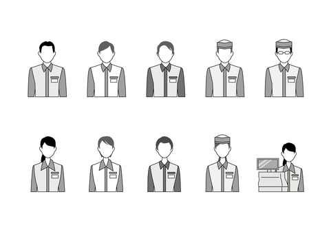 Clerk icon set Monochrome