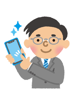 Male employee operating a smartphone