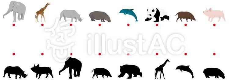 動物・シルエットクイズのイラスト