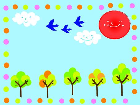 手寫風格的鳥類和自然