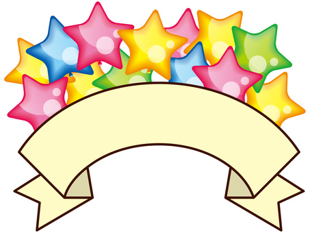 Title ribbon with a star balloon