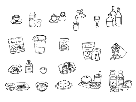 Beverage and food (monochrome assortment set)