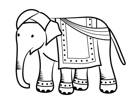 Indian elephant with a turban (monochrome)