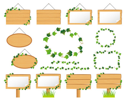 Illustration set of ivy and wooden signs