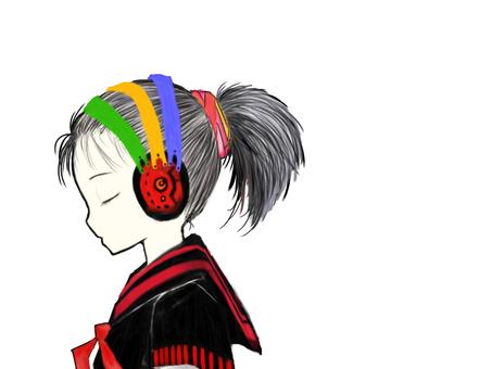 With headphones