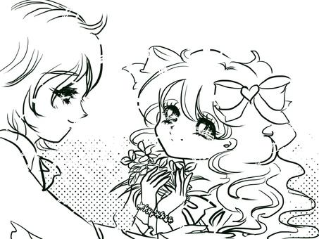 Cartoon old girl cute