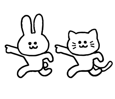 길 안내하는 고양이와 토끼 (동물 심플)