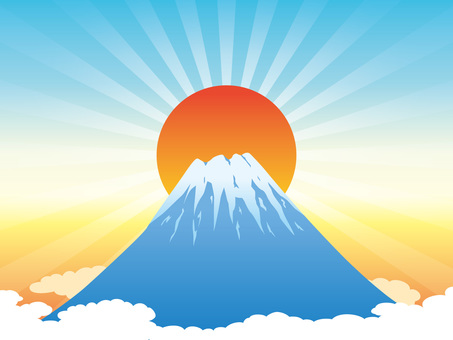 Fuji and sunrise background