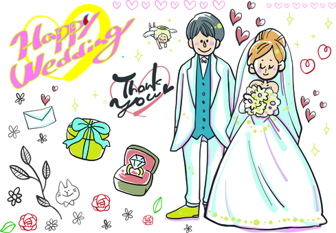 Wedding illustration-wedding bride and groom