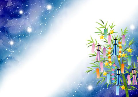 Watercolor style illustration Milky Way and Tanabata decoration, horizontal