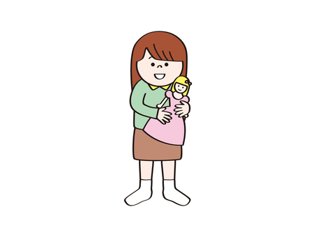 Girl with a toy B_ doll
