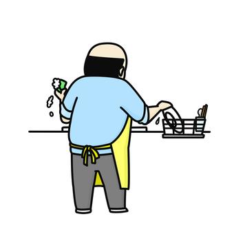 설거지 중년 남성