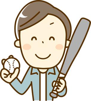 爸爸與棒球球和蝙蝠
