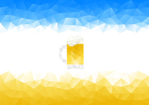 Blue and yellow and beer mug polygon background