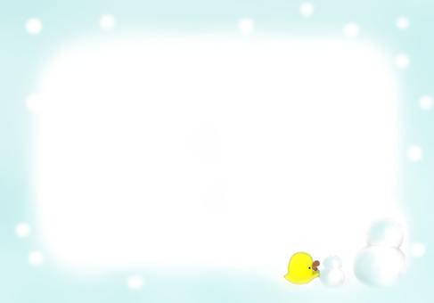 A chick making a snowman
