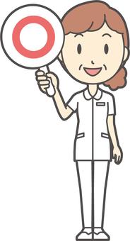Middle-aged women nurse white coat-125-whole body