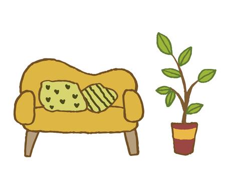Houseplant and sofa & cushion