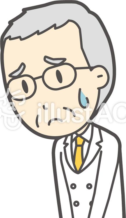 白髪男性医師-054-バストのイラスト