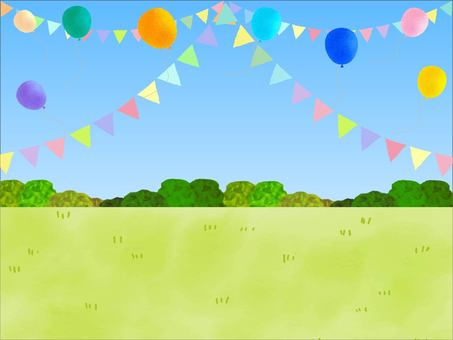 Flags, balloons, sky, lawn