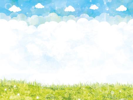 フレーム枠青空春初夏水彩手書き背景壁紙草