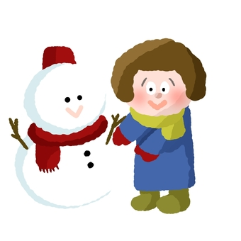Snowman and girl ①