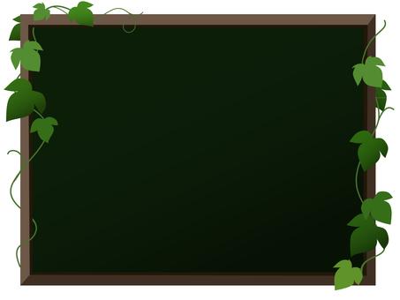 Blackboard and leaves