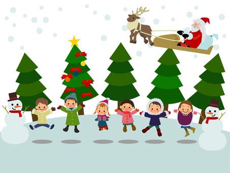 Kids winter jump background