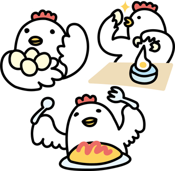 Three chickens of chicken making egg dishes