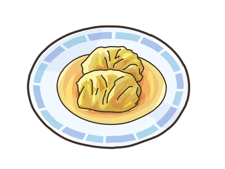 Roll cabbage serving image material