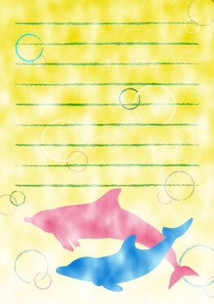 Dolphin Watercolor Notepaper 02 《With Envelope》