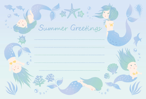 Mermaid Marine Summer greetings Summer greetings
