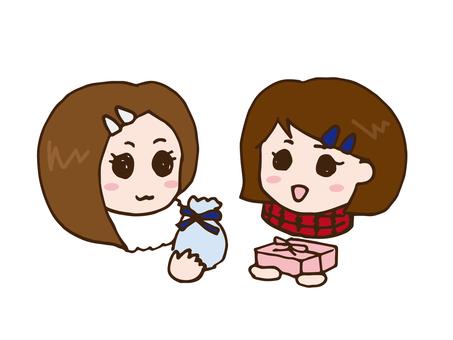 Girls who exchange friend chocolate