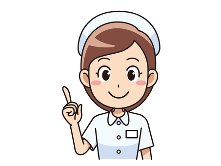 A female nurse who points to a finger