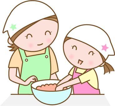 요리를하는 엄마와 아이