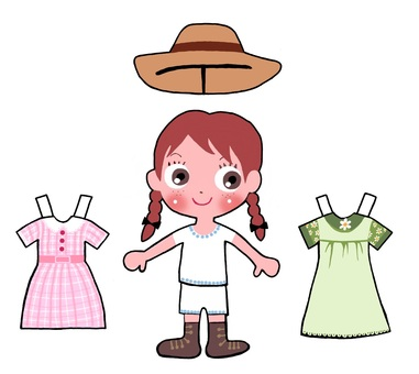 Redhead Anne's dress-up paper doll