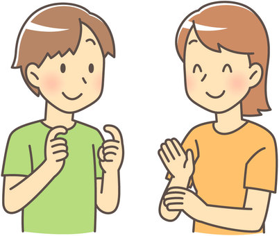 Male and female speaking in sign language