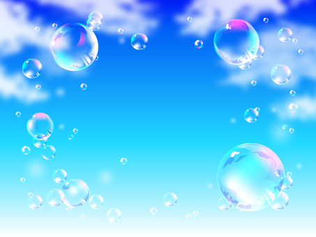 Bubbles floating in blue sky 01