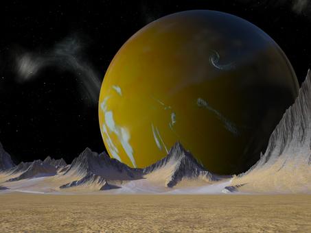 宇宙の黄色い惑星