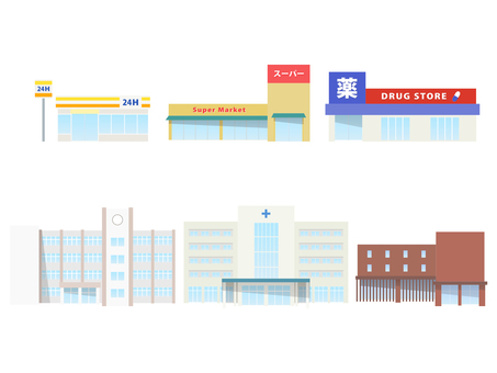 Illustration set of city facilities and buildings
