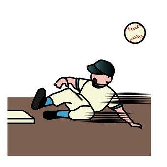 Sliding baseball player