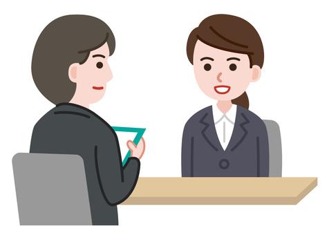 Woman undergoing an interview