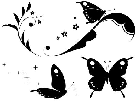 蝶と蔓草のセット