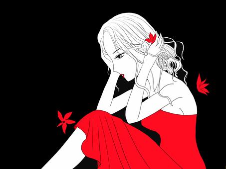 붉은 꽃과 여성 5 정정
