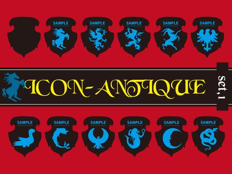 Antique heraldic set 01