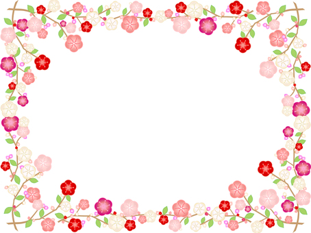Frame with plum blossoms, branches, leaves and buds only